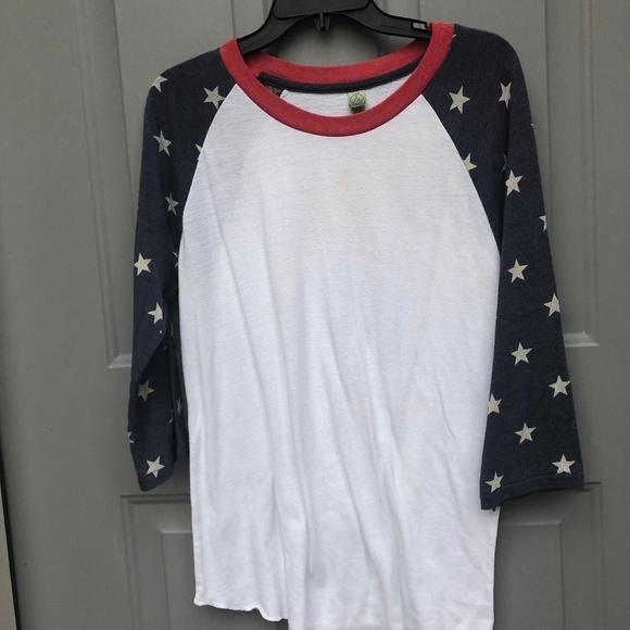 Alternative Earth Other - USA America Stars and Stripes baseball 3/4 shirt